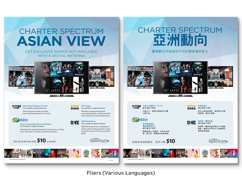 Charter Cable Fliers (Various Languages)