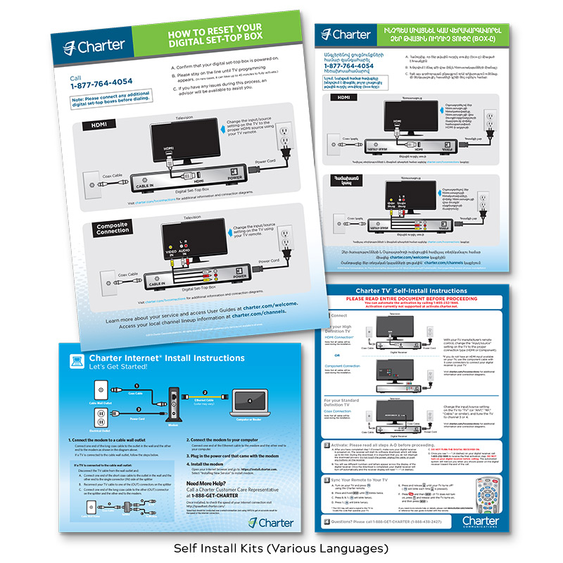 Charter Cable Self Install Kits (Various Languages)